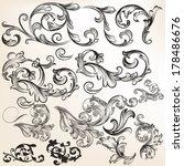 vector set of calligraphic... | Shutterstock .eps vector #178486676