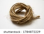 Jute Twine Isolated On White...