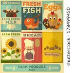 organic fresh farm food posters ... | Shutterstock .eps vector #178499420