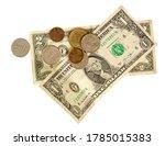 small crumpled dollar bills and ...   Shutterstock . vector #1785015383