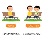 antonyms concept  alone and... | Shutterstock .eps vector #1785040709