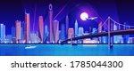 city bridge over water bay at... | Shutterstock .eps vector #1785044300