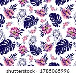 tropical leaves and flowers...   Shutterstock .eps vector #1785065996