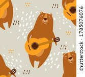 bears  hand drawn backdrop.... | Shutterstock .eps vector #1785076076