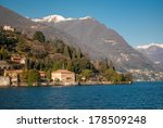 Small photo of Picturesque landscape with the blue water of Lake Como surrounded by the Alps of Lombardy