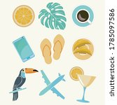 set of cute summer icons  food  ... | Shutterstock .eps vector #1785097586