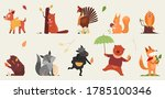 Cute Animal In Autumn Vector...