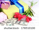 gift boxes with money and... | Shutterstock . vector #178510100