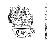 a cup of coffee and two owls... | Shutterstock .eps vector #1785138113