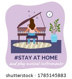 stay at home and play musical... | Shutterstock .eps vector #1785145883