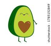 avocado icon. smiling face.... | Shutterstock . vector #1785152849