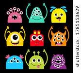 happy halloween. monster face... | Shutterstock . vector #1785153629