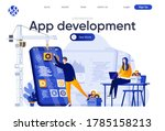 app development flat landing... | Shutterstock .eps vector #1785158213