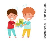 hostile kids with angry grimace ...   Shutterstock .eps vector #1785159086