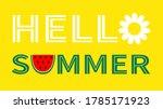 hello summer text. watermelon... | Shutterstock .eps vector #1785171923