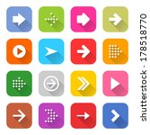 16 arrow icon set 01  white... | Shutterstock .eps vector #178518770