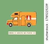 colorful camper rv. road home... | Shutterstock .eps vector #1785225239