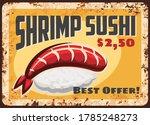 shrimp sushi rusty metal plate  ... | Shutterstock .eps vector #1785248273