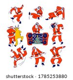 funny santa claus and reindeer...   Shutterstock .eps vector #1785253880