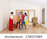 movers in new house with young... | Shutterstock . vector #178527089