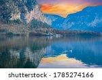 Hallstatt lake and mountain with castle on the other side of the lake in Austria