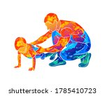 abstract trainer helps a young... | Shutterstock .eps vector #1785410723