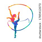 Abstract Girl Gymnast With...