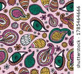 hippy indian paisley and eye... | Shutterstock .eps vector #1785464666