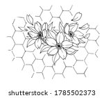 tattoo branch of blooming... | Shutterstock . vector #1785502373