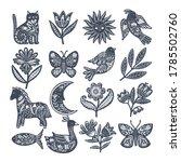 vector set of scandinavian folk ... | Shutterstock .eps vector #1785502760