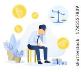 depressed young man sitting on... | Shutterstock .eps vector #1785537839