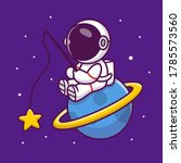 cute astronaut fishing star on... | Shutterstock .eps vector #1785573560
