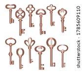 vintage bronze metal keys set ... | Shutterstock .eps vector #1785609110