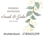 wedding invitation with leaves  ...   Shutterstock .eps vector #1785631259