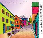 travel postcard in 1960s pop... | Shutterstock .eps vector #178563980
