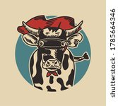 the cow wearing a superhero...   Shutterstock .eps vector #1785664346