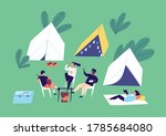 group of diverse people relax... | Shutterstock .eps vector #1785684080