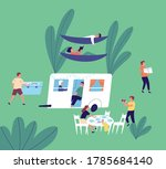 tourists resting at camping... | Shutterstock .eps vector #1785684140