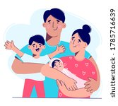 a young family with two... | Shutterstock .eps vector #1785716639