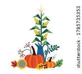 corn on a stalk in a jug ... | Shutterstock .eps vector #1785735353