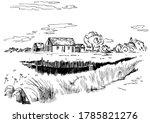 green grass field on small... | Shutterstock .eps vector #1785821276