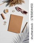 kraft paper cover notebook... | Shutterstock . vector #1785854453