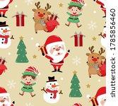 cute santa claus  snowman  deer ... | Shutterstock .eps vector #1785856460