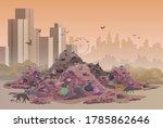 City Landfill Flat Illustration....