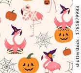 halloween pattern with flamingo ... | Shutterstock .eps vector #1785879983