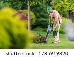 Caucasian Gardener in His 40s Cleaning Backyard Garden Lawn Using Modern Electric Cordless Leaf Blower. Landscaping and Gardening Theme. - stock photo