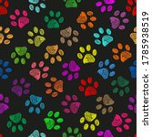 hand drawn colorful paw prints. ... | Shutterstock .eps vector #1785938519