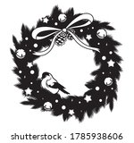 christmas wreath with titmouse. ... | Shutterstock .eps vector #1785938606