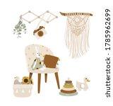 nursery boho poster for baby... | Shutterstock .eps vector #1785962699