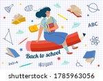 girl flying on pencil vector... | Shutterstock .eps vector #1785963056